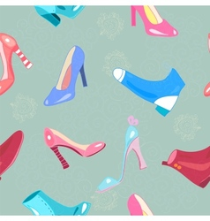 Retro seamless pattern with shoes vector image vector image