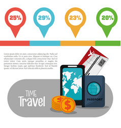 time travel infographic vacation info vector image vector image