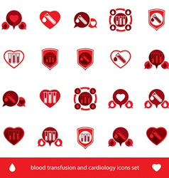 Cardiology and blood transfusion icons set vector image vector image