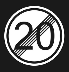 end maximum speed limit 20 sign flat icon vector image vector image