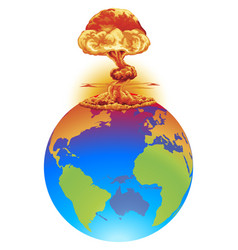 explosion earth disaster concept vector image vector image