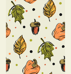 hand drawn seamless pattern with autumn vector image vector image