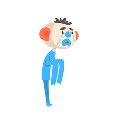 sad crying clown colorful cartoon character vector image