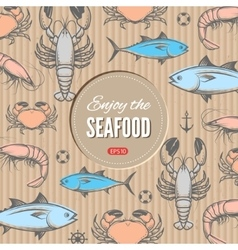 Seafood design template vector image vector image