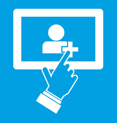 touch screen tablet click icon white vector image