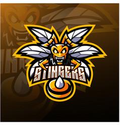 Angry bee mascot logo design vector