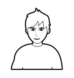 black silhouette cartoon half body man with vector image