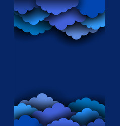 Blue paper cut clouds on dark background vector