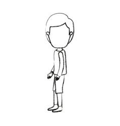 Blurred silhouette cartoon full body faceless guy vector