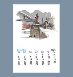 Calendar sheet december month 2021 year hamburg vector