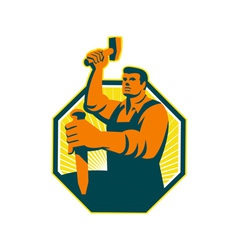 Carpenter Sculptor Hammer Chisel Retro vector