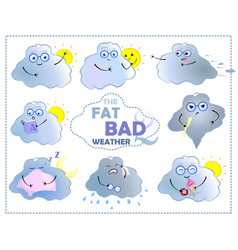 Cartoon character cloud with sun fat bad weather vector