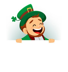 Cartoon funny leprechaun standing behind blank vector