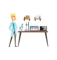 Cheerful young scientist in laboratory microscope vector