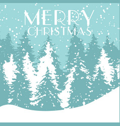 christmas card xmas winter forest greeting vector image