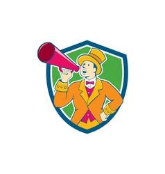 Circus ringmaster bullhorn crest cartoon vector
