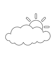 cloud sky silhouette with sun vector image