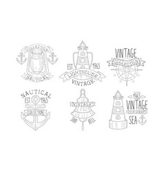 collection nautical vintage labels sea company vector image