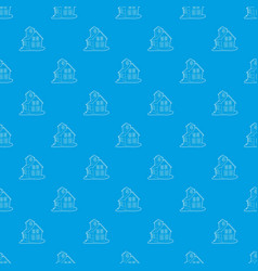 colored house pattern seamless blue vector image