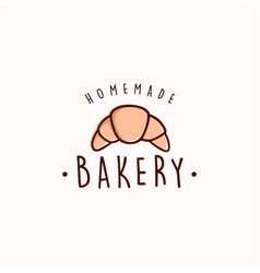 Croissant bakery and dessert logo sign template vector