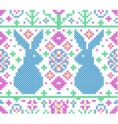 cross stitch embroidery pattern vector image
