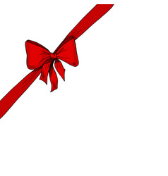 diagonal red ribbon and bow vector image