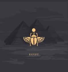 drawing icon egyptian scarab beetle vector image