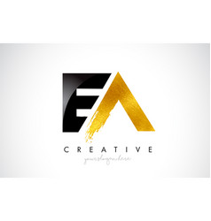 Ea letter design with brush stroke and modern 3d vector