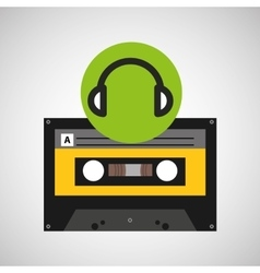 Earphones music cassette tape vector
