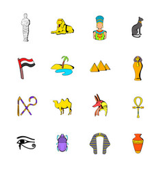 Egypt icons set cartoon vector