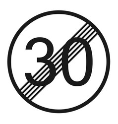 End maximum speed limit 30 sign line icon vector