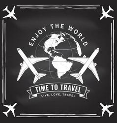 Enjoy world time to travel badge logo vector