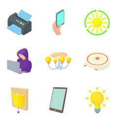 Everyday device icons set cartoon style vector