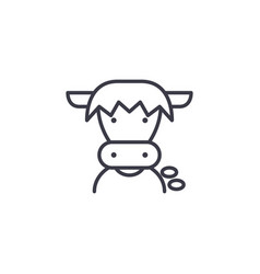 farm cow head line icon sign vector image