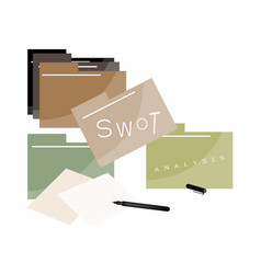 File folder with swot analysis strategy management vector