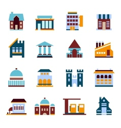 Flat city infographics buildings vector image
