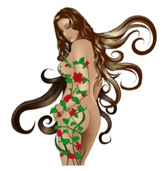 Floral girl vector