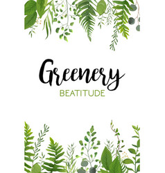 Floral greenery card design with forest green leaf vector
