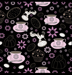 flowers cups and bird garden tea party vector image