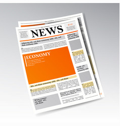 Folded realistic economic newspaper vector