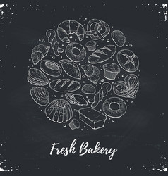 Fresh bread circle poster vector
