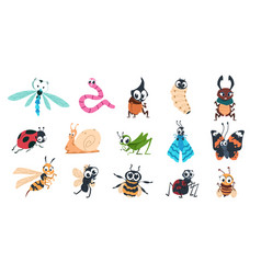 funny bugs cartoon cute insects with faces vector image