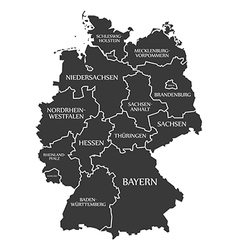 Germany map with labels black vector image