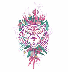 Girly tattoo style tropical tiger face portrait vector