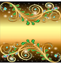 golden background with jewels ornament and stars vector image