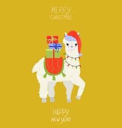 greeting card with christmas llama graphics vector image