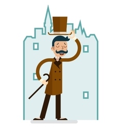 Greeting Great Britain Victorian Gentleman vector