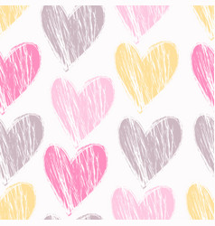 Grunge textured hand drawn heart pattern vector