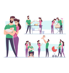happy family lovely couple mother and father vector image