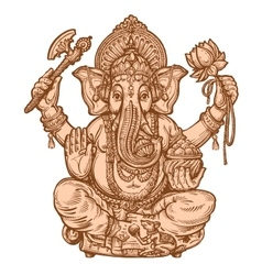 Happy Ganesh Chaturthi hand drawn sketch vector